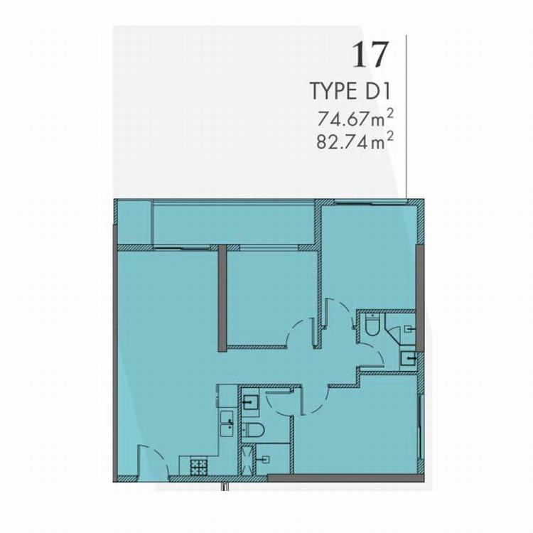 Mặt bằng thiết kế căn hộ 3 phòng ngủ 82m2 - Astral City Bình Dương