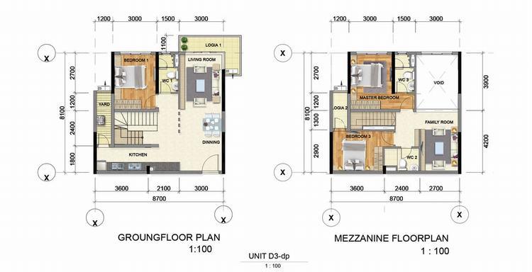 Thiết kế căn hộ Dual key (120m2 – 130m2) – Astral City