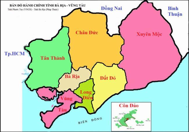 Bản đồ hành chính tỉnh Bà Rịa Vũng Tàu