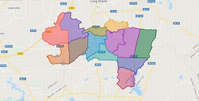 Bản đồ huyện Cẩm Mỹ