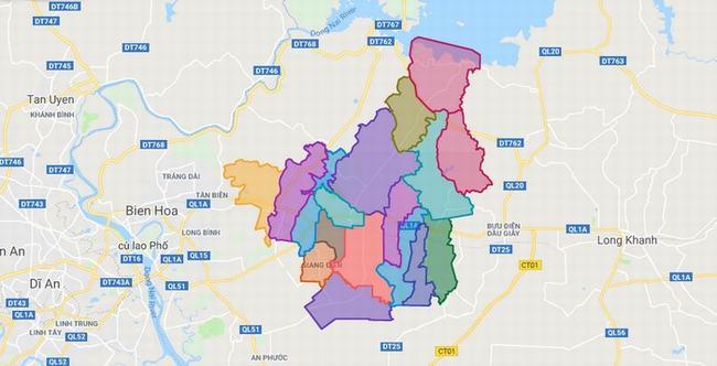 Bản đồ huyện Trảng Bom