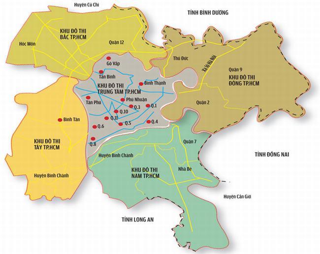 Bản đồ phân chia các khu vực thành phố Hồ Chí Minh