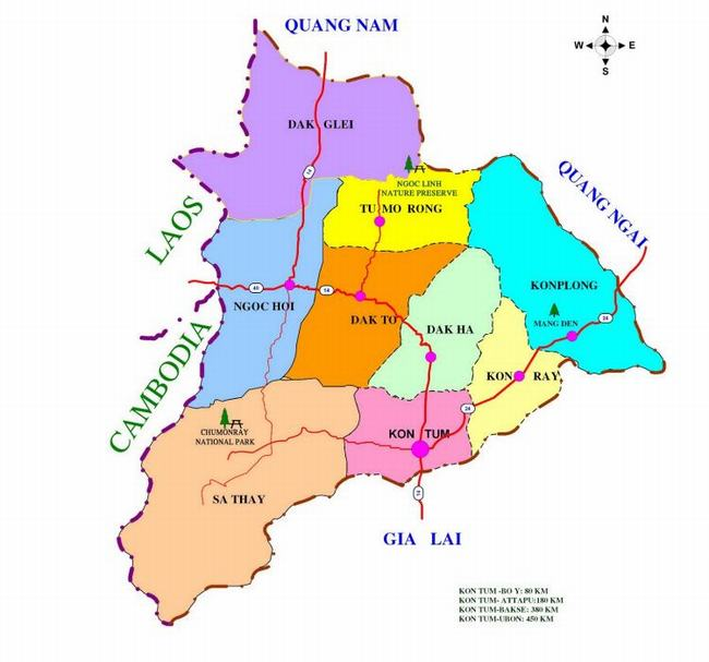 Bản đồ hành chính tỉnh Kon-Tum