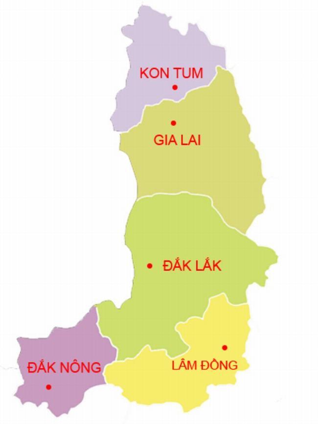 Bản đồ Tây Nguyên Việt Nam