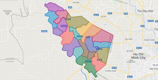 Bản đồ huyện Đức Hòa - Tỉnh Long An