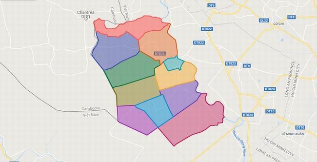 Bản đồ huyện Đức Huệ - Tỉnh Long An