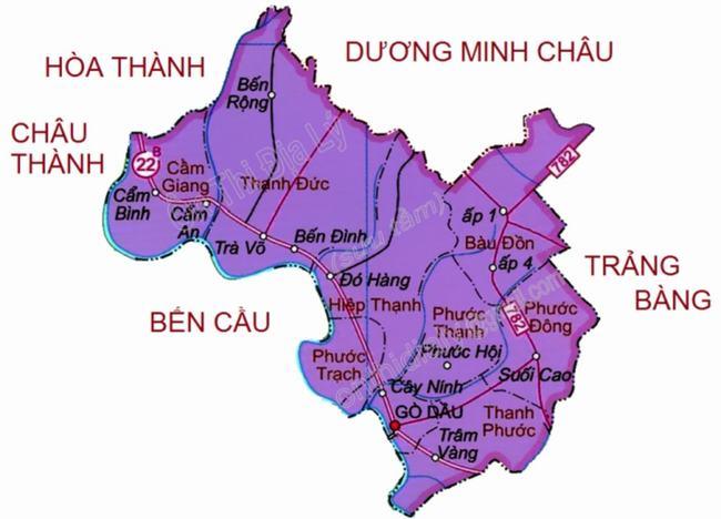 Bản đồ huyện Gò Dầu Tây Ninh