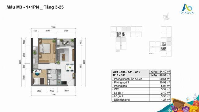 Layout thiết kế căn hộ 1+1PN dự án D-Aqua Quận 8