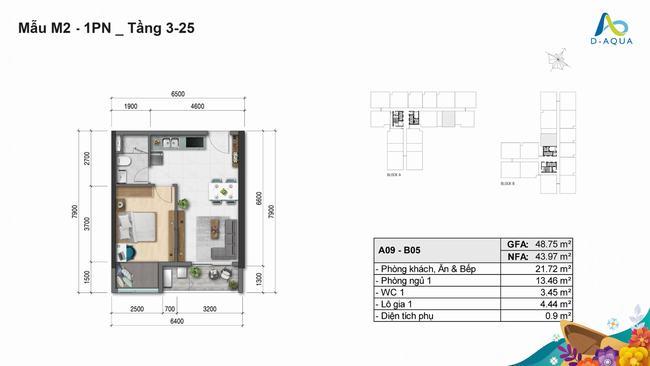Layout thiết kế căn hộ 1 phòng ngủ - 48,75m2 dự án D-Aqua Quận 8