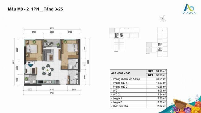 Layout thiết kế căn hộ 2+1 phòng ngủ 74.10m2 loại 2 dự án D-Aqua Quận 8