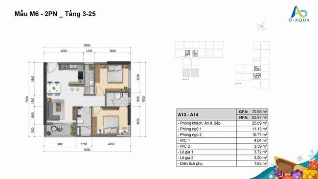 Layout thiết kế căn hộ 2 phòng ngủ 70.98m2 dự án D-Aqua Quận 8
