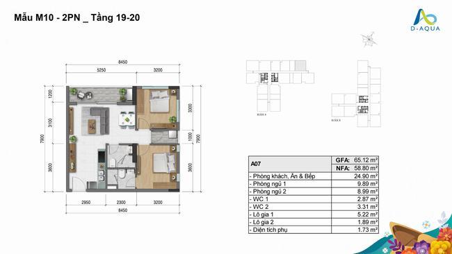 Layout thiết kế căn hộ 2 phòng ngủ 65.12m2 loại 2 dự án D-Aqua Quận 8