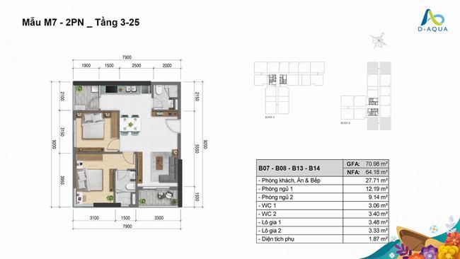 Layout thiết kế căn hộ 2 phòng ngủ 70.98m2 loại 2 dự án D-Aqua Quận 8