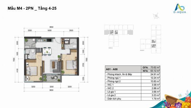 Layout thiết kế căn hộ 2 phòng ngủ 70.62m2 dự án D-Aqua Quận 8
