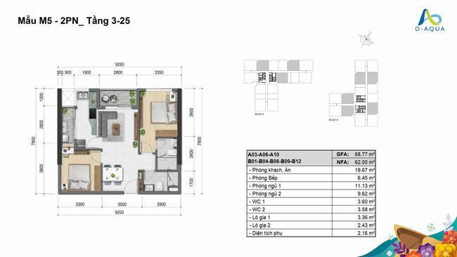 Layout thiết kế căn hộ 2 phòng ngủ 68.77m2 dự án D-Aqua Quận 8