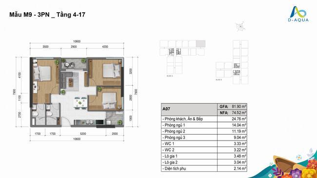 Layout mặt bằng thiết kế 3 phòng ngủ 81.90m2 - D-Aqua Quận 8