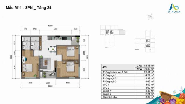 Layout mặt bằng thiết kế 3 phòng ngủ 83.46m2 - D-Aqua Quận 8
