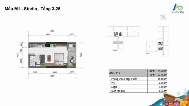 Layout thiết kế căn hộ Studio dự án D-Aqua Quận 8