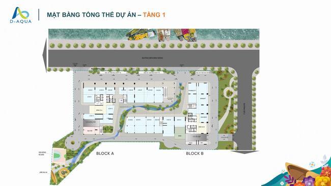 Mặt bằng tầng 1 dự án căn hộ D-Aqua Quận 8
