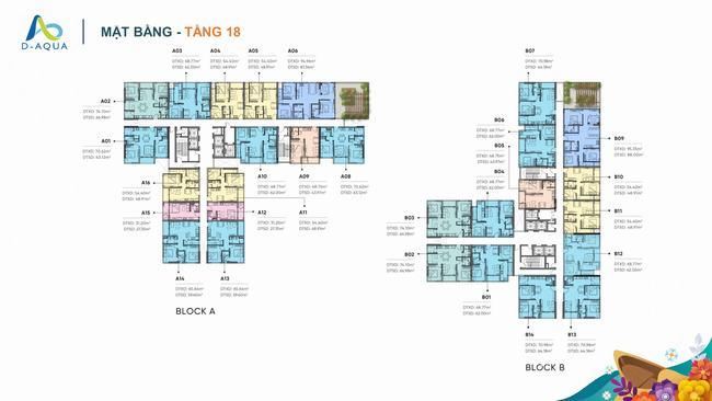 Mặt bằng tầng 18 dự án căn hộ D-Aqua Quận 8
