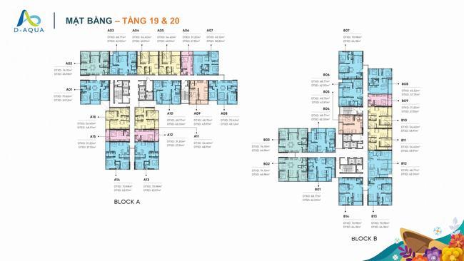 Mặt bằng tầng 19 & 20 dự án căn hộ D-Aqua Quận 8