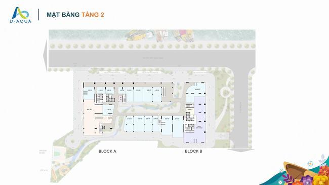 Mặt bằng tầng 2 dự án căn hộ D-Aqua Quận 8