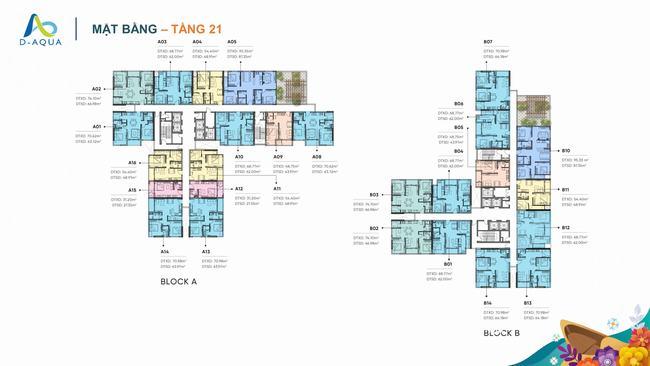 Mặt bằng tầng 21 dự án căn hộ D-Aqua Quận 8