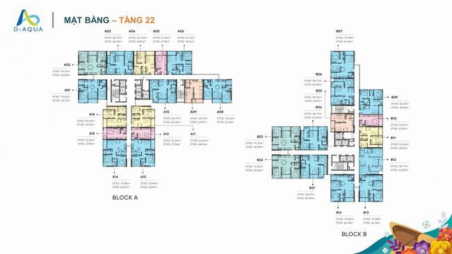 Mặt bằng tầng 22 dự án căn hộ D-Aqua Quận 8