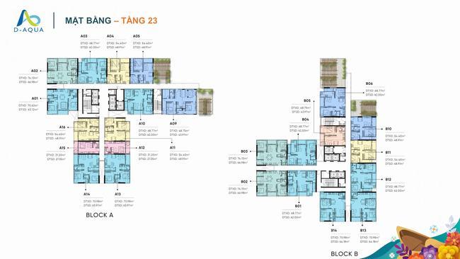 Mặt bằng tầng 23 dự án căn hộ D-Aqua Quận 8