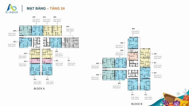 Mặt bằng tầng 24 dự án căn hộ D-Aqua Quận 8