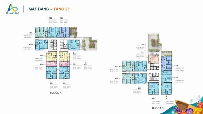 Mặt bằng tầng 25 dự án căn hộ D-Aqua Quận 8