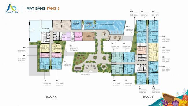 Mặt bằng tầng 3 dự án căn hộ D-Aqua Quận 8