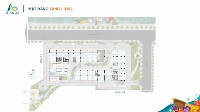 Mặt bằng tầng lửng dự án căn hộ D-Aqua Quận 8