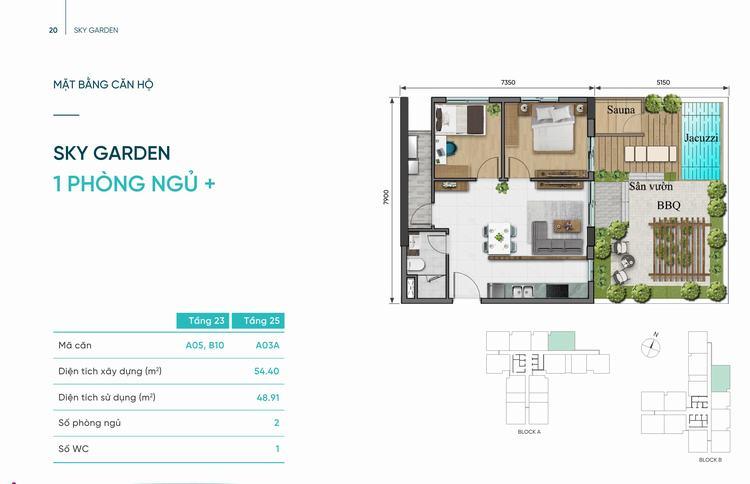 Thiết kế căn hộ Sky Garden 1 phòng ngủ + 54m2 dự án D-Aqua