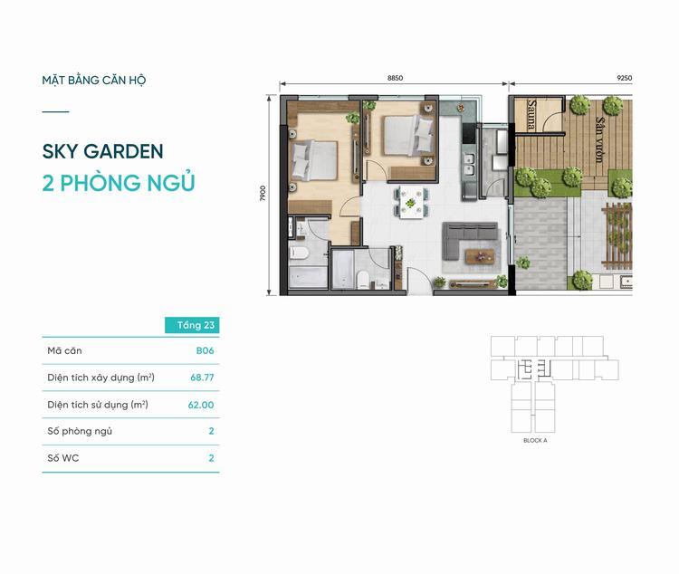 Thiết kế căn hộ Sky Garden 2 phòng ngủ 68m2 dự án D-Aqua