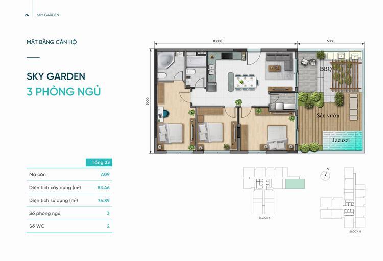 Thiết kế căn hộ Sky Garden 3 phòng ngủ 83m2 dự án D-Aqua