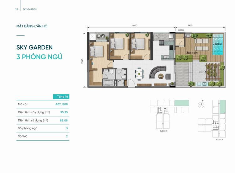 Thiết kế căn hộ Sky Garden 3 phòng ngủ 95m2 dự án D-Aqua