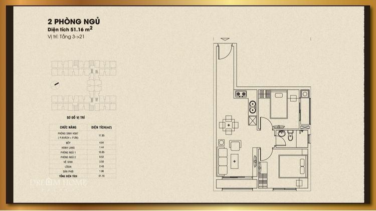 Mặt bằng thiết kế căn hộ 2 phòng ngủ 51.16m2 - Dream Home Palace Quận 8