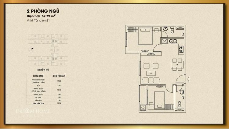 Mặt bằng thiết kế căn hộ 2 phòng ngủ 52.79m2 - Dream Home Palace Quận 8