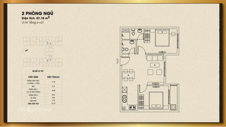 Mặt bằng thiết kế căn hộ 2 phòng ngủ 57.10m2 - Dream Home Palace Quận 8