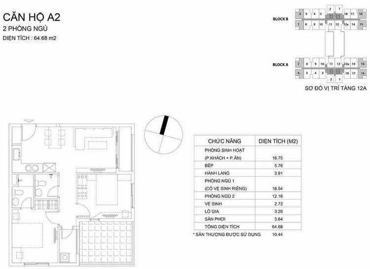 Mặt bằng thiết kế căn hộ loại A2 64.68m2 2PN2WC - Dream Home Riverside