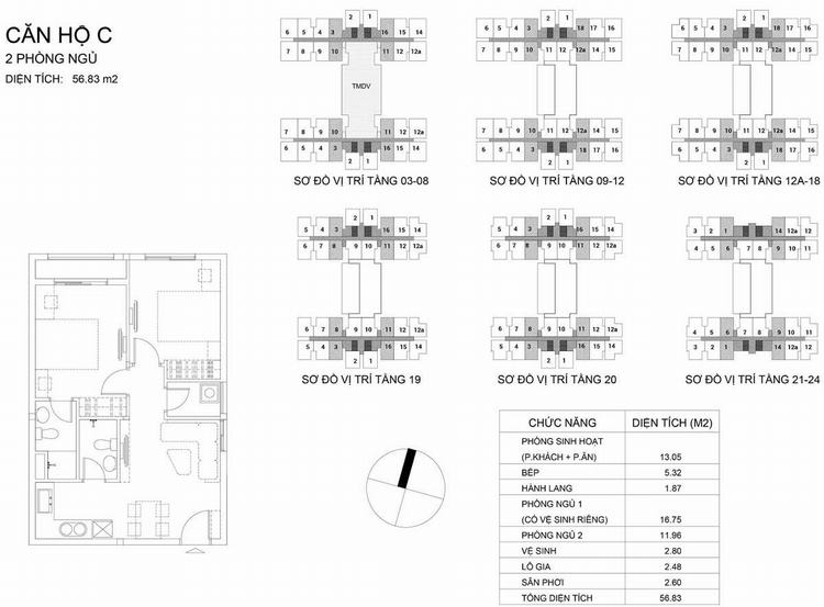 Mặt bằng thiết kế căn hộ loại C 56.83m2 2PN2WC - Dream Home Riverside