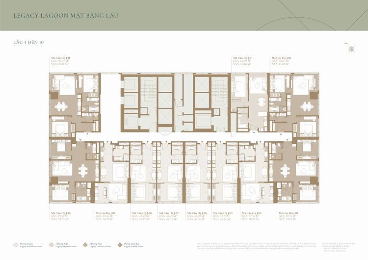 Mặt bằng tầng 4 đến 10 tháp Lagoon - Grand Marina SaiGon