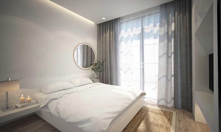 Phối cảnh phòng ngủ Master căn hộ tại dự án King Crown Infinity Thủ Đức