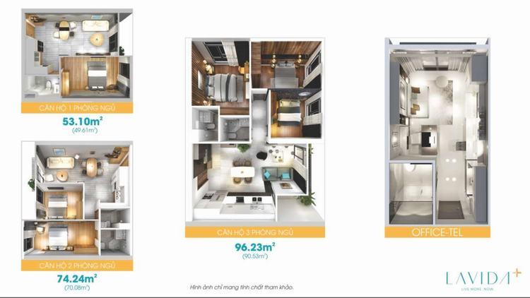 Layout thiết kế các loại hình căn hộ dự án Lavida Plus Quận 7