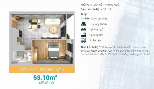 Mặt bằng thiết kế căn hộ 1 phòng ngủ dự án Lavida Plus Quận 7