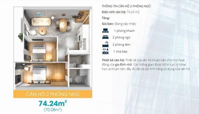 Mặt bằng thiết kế căn hộ 2 phòng ngủ dự án Lavida Plus Quận 7