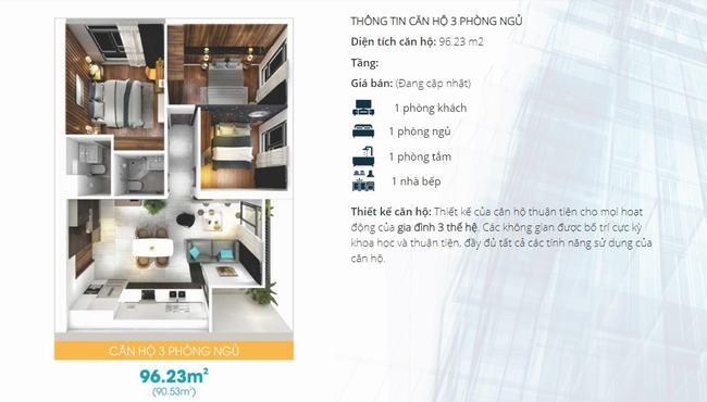 Mặt bằng thiết kế căn hộ 3 phòng ngủ dự án Lavida Plus Quận 7