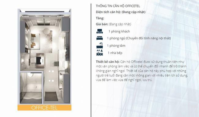 Mặt bằng thiết kế căn hộ văn phòng (Officetel) dự án Lavida Plus Quận 7