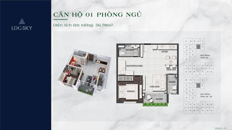 Layout thiết kế căn hộ 1 phòng ngủ 56m2 dự án LDG Sky Dĩ An Bình Dương